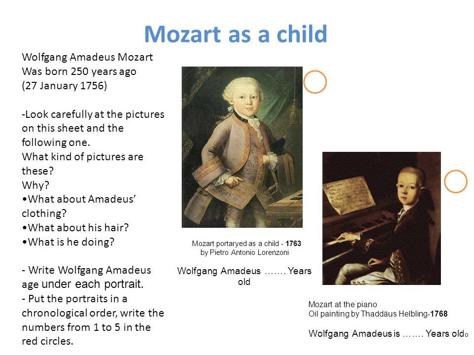 Mozart as a child Wolfgang Amadeus Mozart Was born 250 years ago