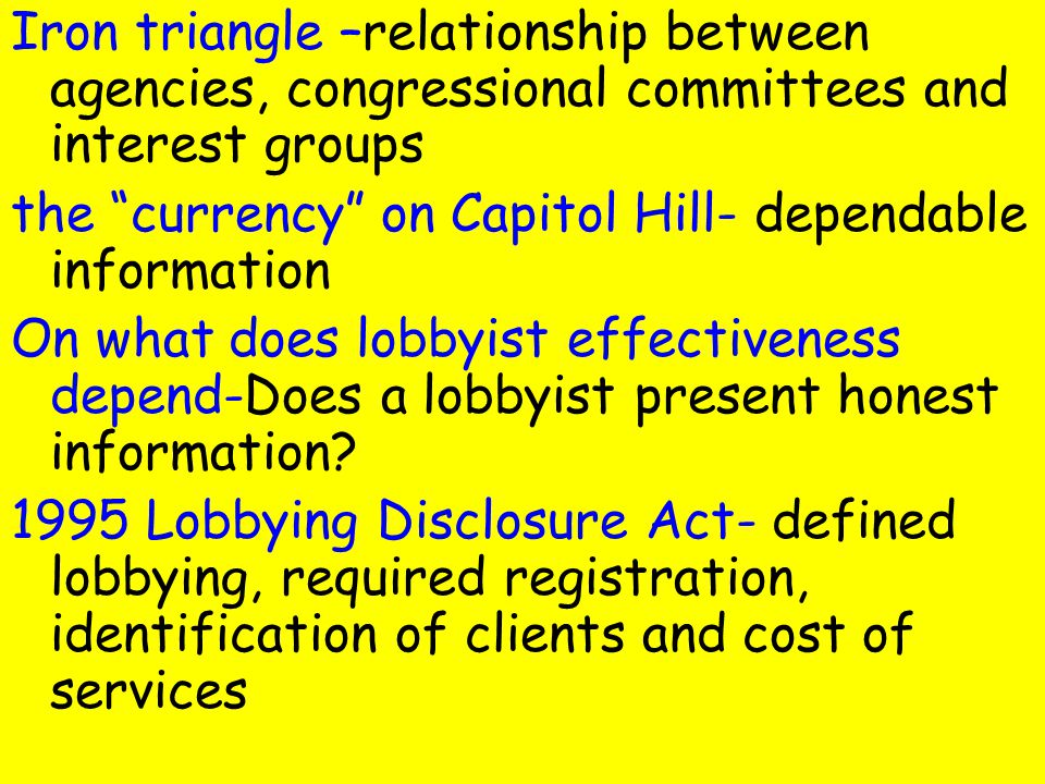 in the relationship between lobbyists and members of congress quizlet