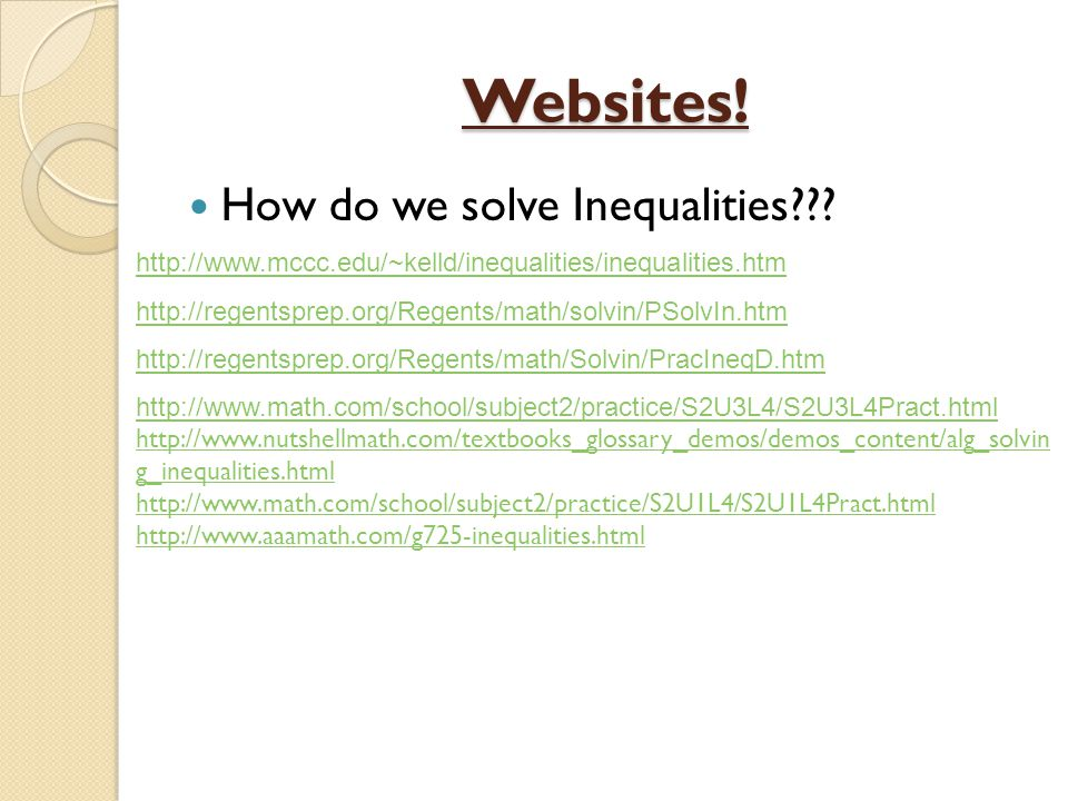 how to solve math inequalities