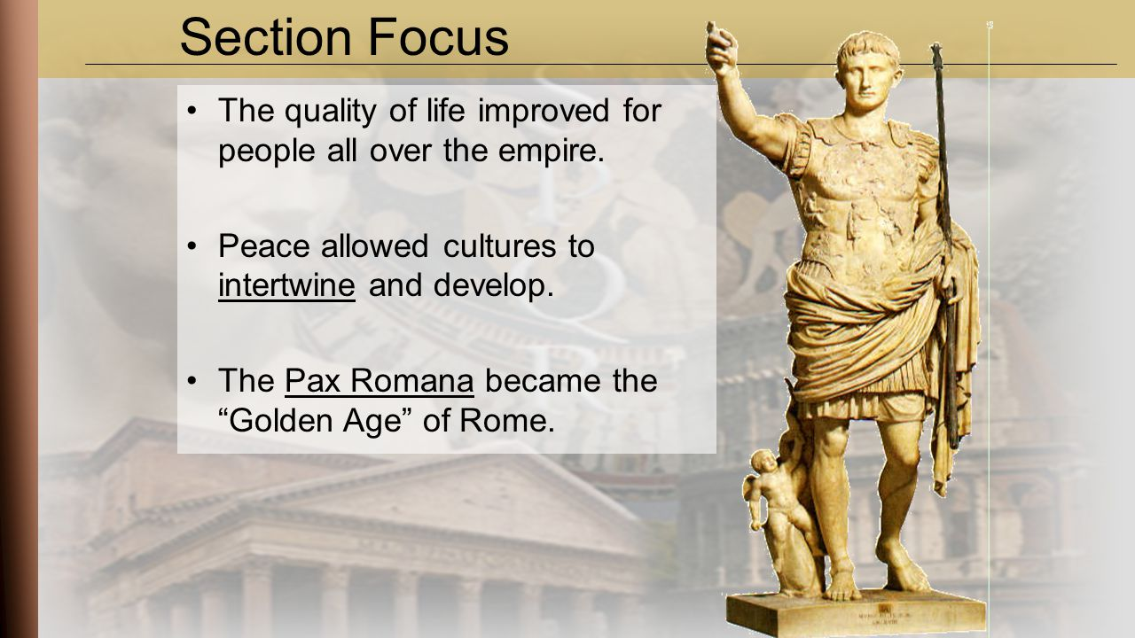 a culture and intellectual life in pax romana Start studying chapters 5 - 7 learn vocabulary, terms, and more with flashcards, games, and other study tools search  pax romana refers to the  cultural and intellectual developments in rome reached their pinnacle during the principate.