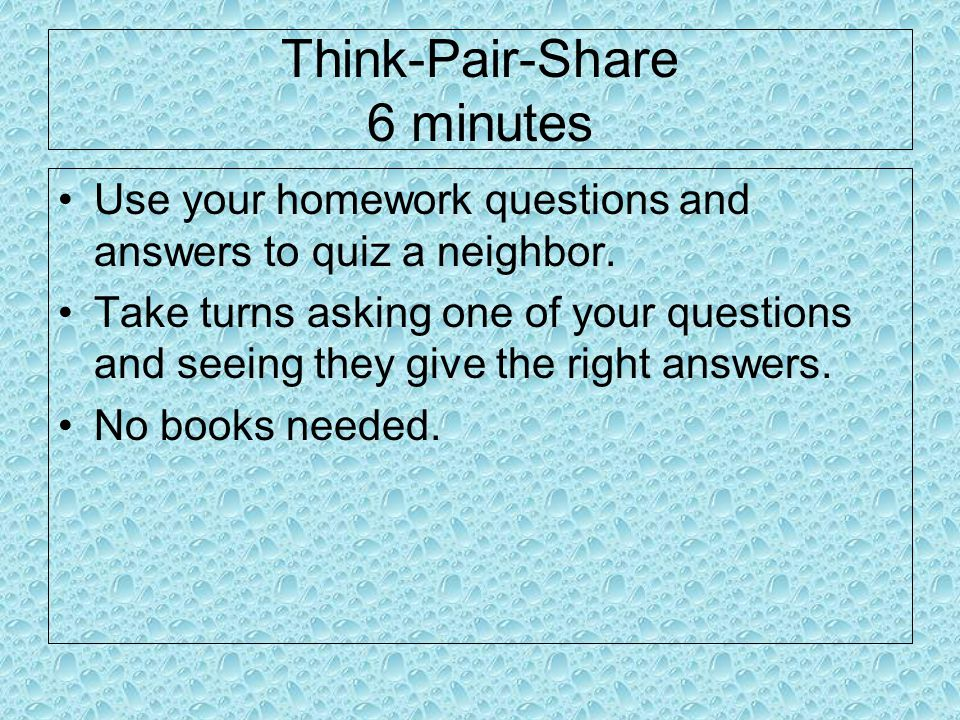 Think-Pair-Share 6 minutes