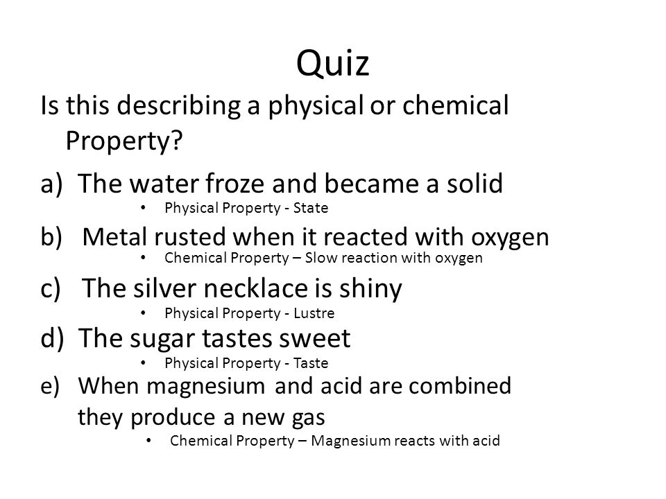 physical and chemical properties essay Benzene: the physical properties and chemical properties essay - the flammability rating of benzene is three, stating that benzene is able to ignite at any normal temperature benzene has a satiability rating of zero meaning that benzene is normally stable and is not reactive with water, although benzene does not have any specific.
