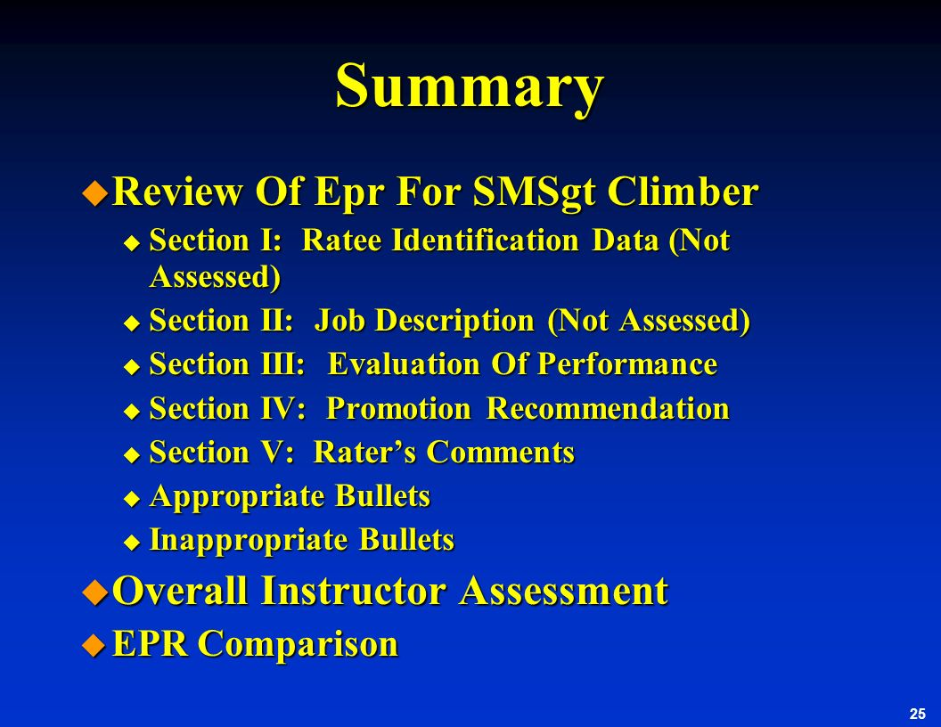 Summary Review Of Epr For SMSgt Climber Overall Instructor Assessment