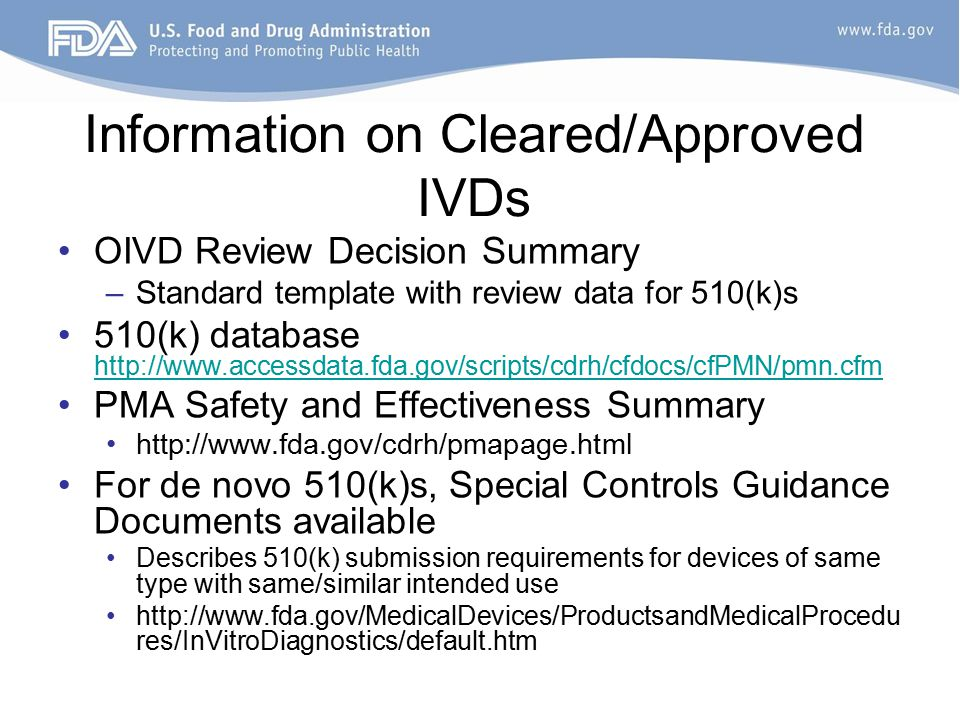 Fda regulation of in vitro diagnostic tests ppt video for 510k template