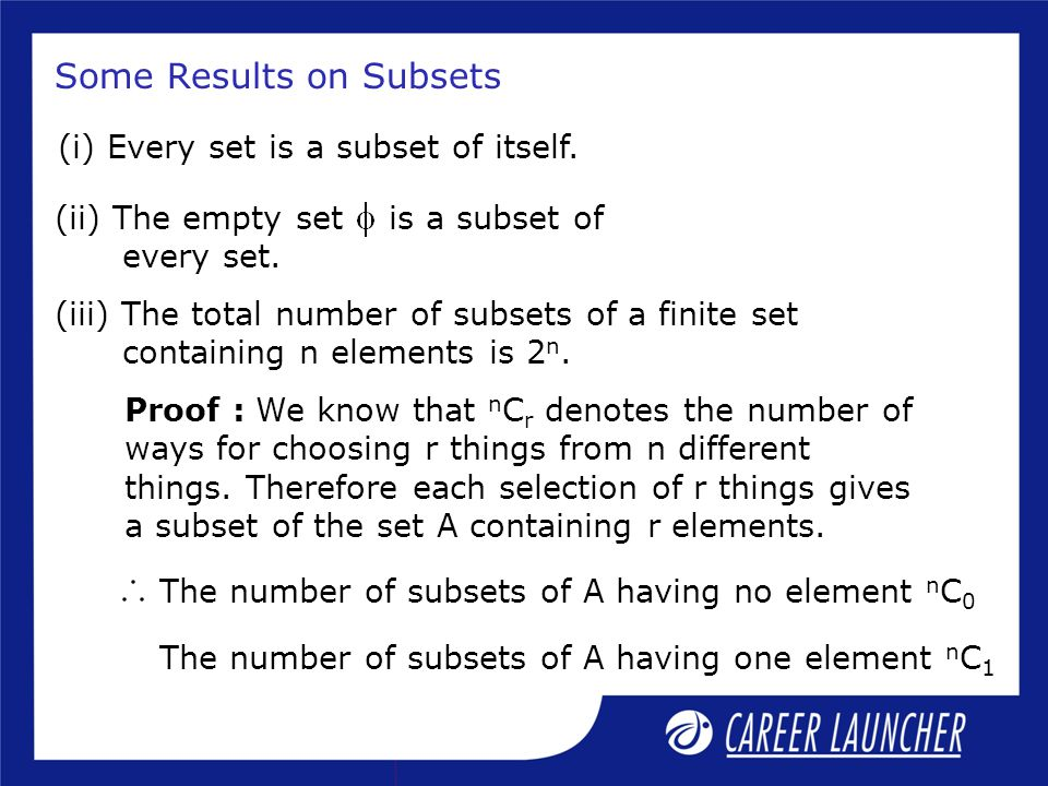 Some Results on Subsets