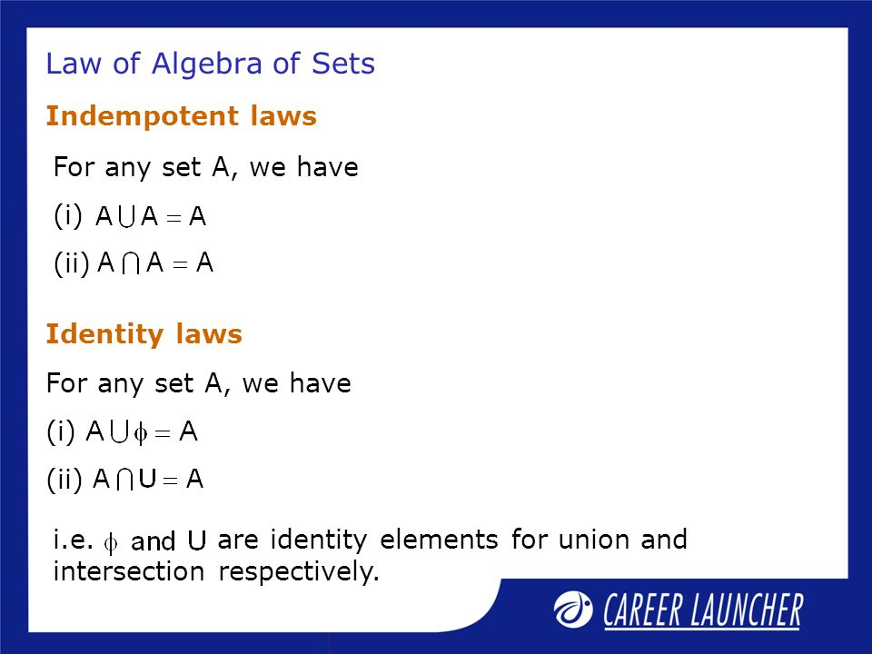 Law of Algebra of Sets Indempotent laws For any set A, we have (i)