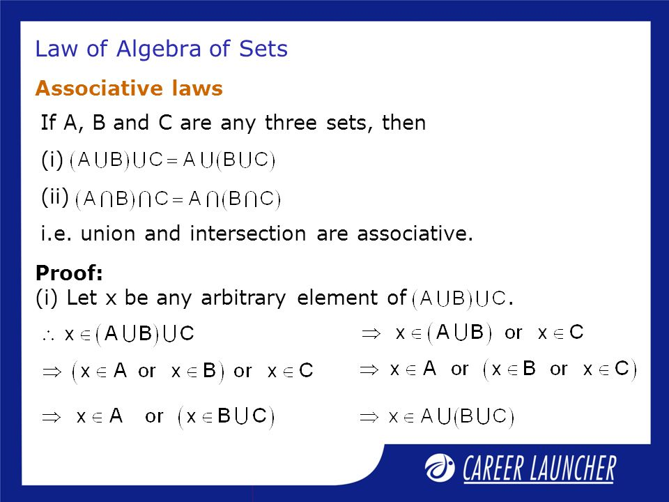 Law of Algebra of Sets Associative laws