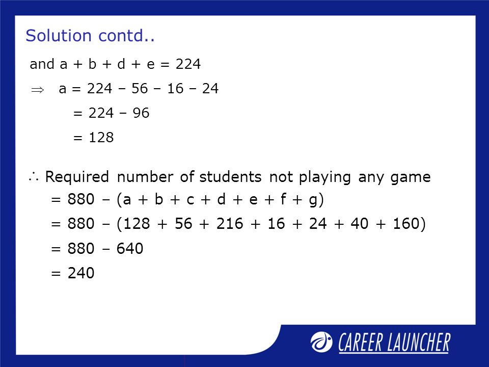 Solution contd.. Required number of students not playing any game