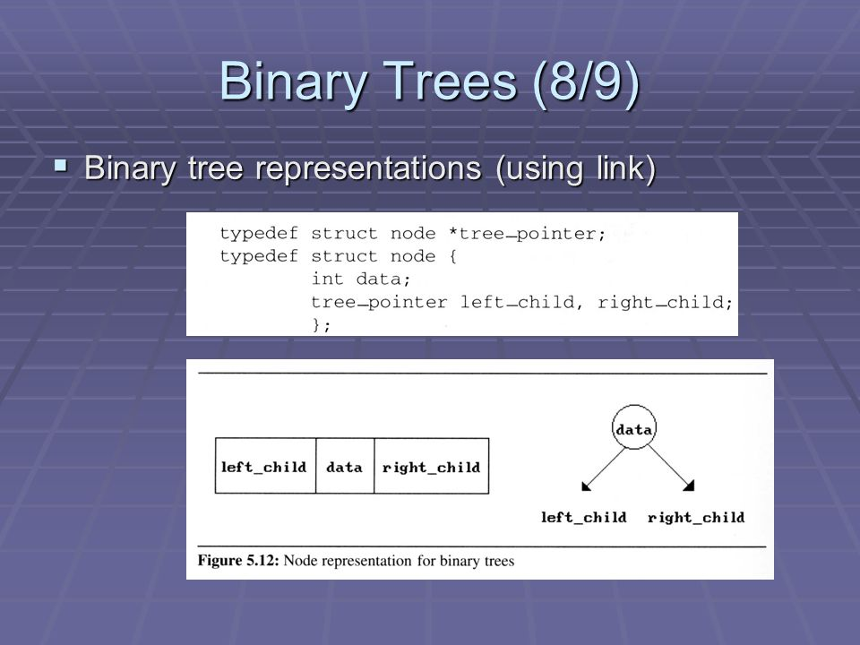 binary tree representations Tree representations can be broadly classified  bp: the balanced parentheses  representation of a tree,  use a branching factor 2, forming a complete binary.