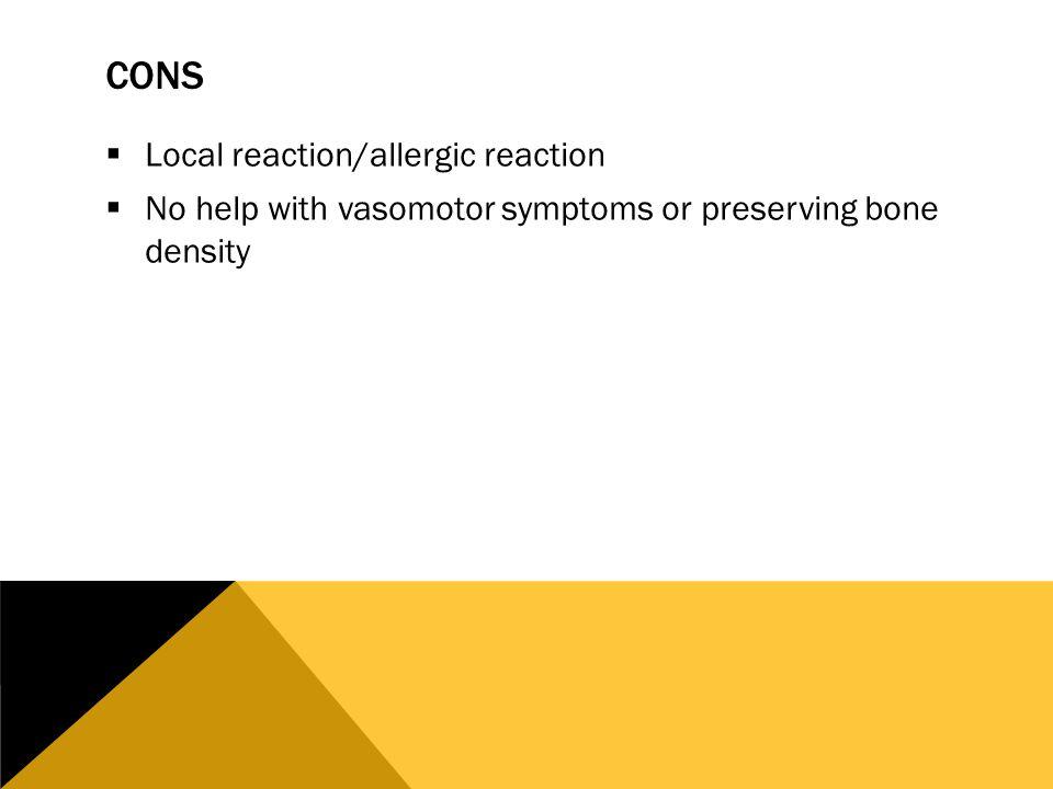 Allergic reaction bioidentical vaginal estrogen