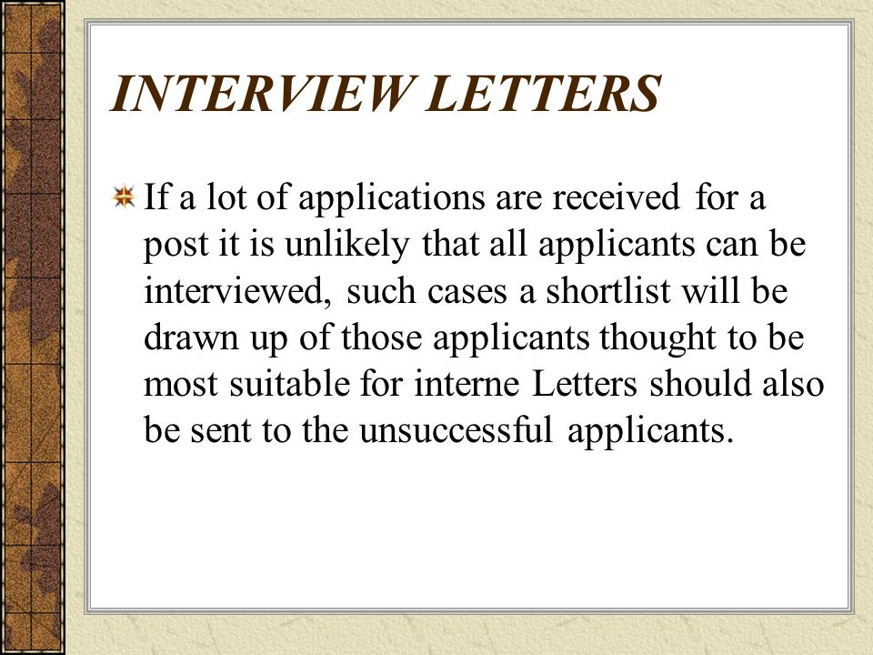 unsuccessful applicant letters
