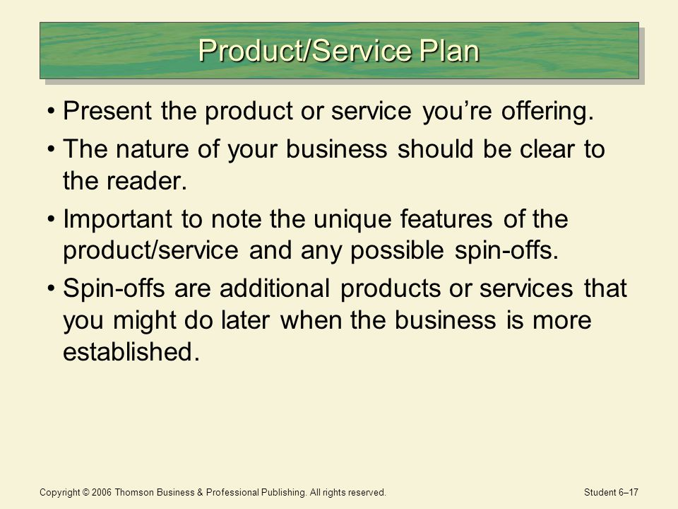 product service plan - Template