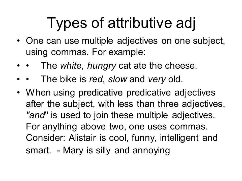 Types of attributive adj
