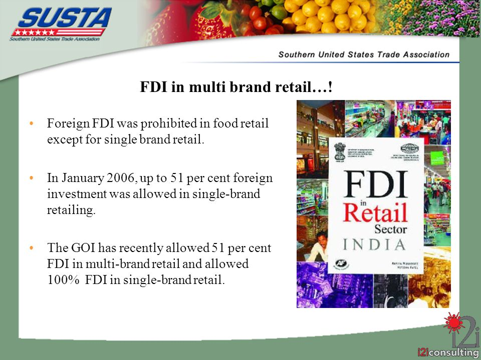 fdi in multibrand retailing Read more about turtle sees no challenge in 51% fdi in multi-brand retailing on business standard turtle ltd, a kolkata-based leading menswear brand, sees no challenge in allowing 51 percent foreign direct investment (fdi) in multi-brand retailing in the country.