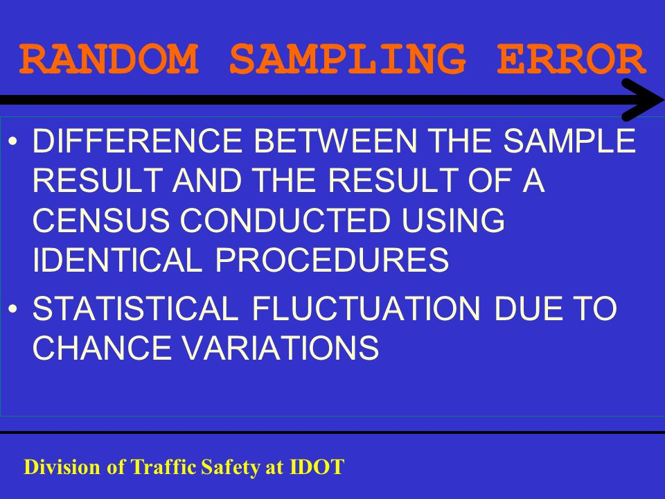 RANDOM SAMPLING ERROR DIFFERENCE BETWEEN THE SAMPLE RESULT AND THE RESULT OF A CENSUS CONDUCTED USING IDENTICAL PROCEDURES.