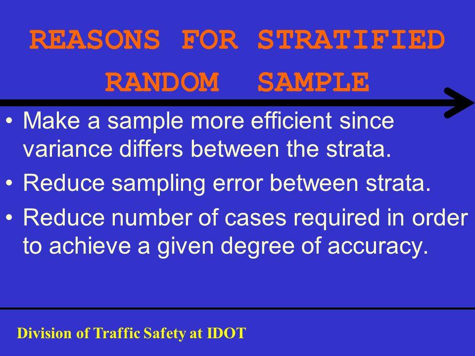 REASONS FOR STRATIFIED RANDOM SAMPLE