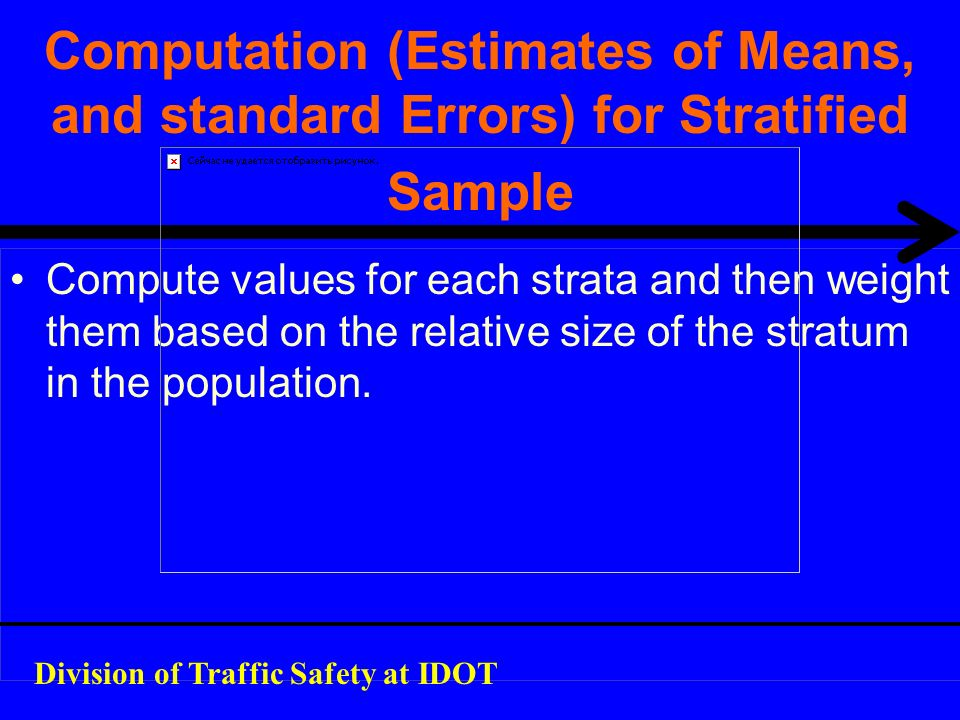 Computation (Estimates of Means, and standard Errors) for Stratified Sample