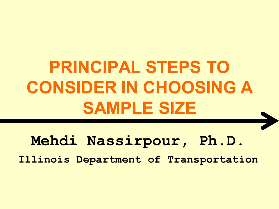 PRINCIPAL STEPS TO CONSIDER IN CHOOSING A SAMPLE SIZE