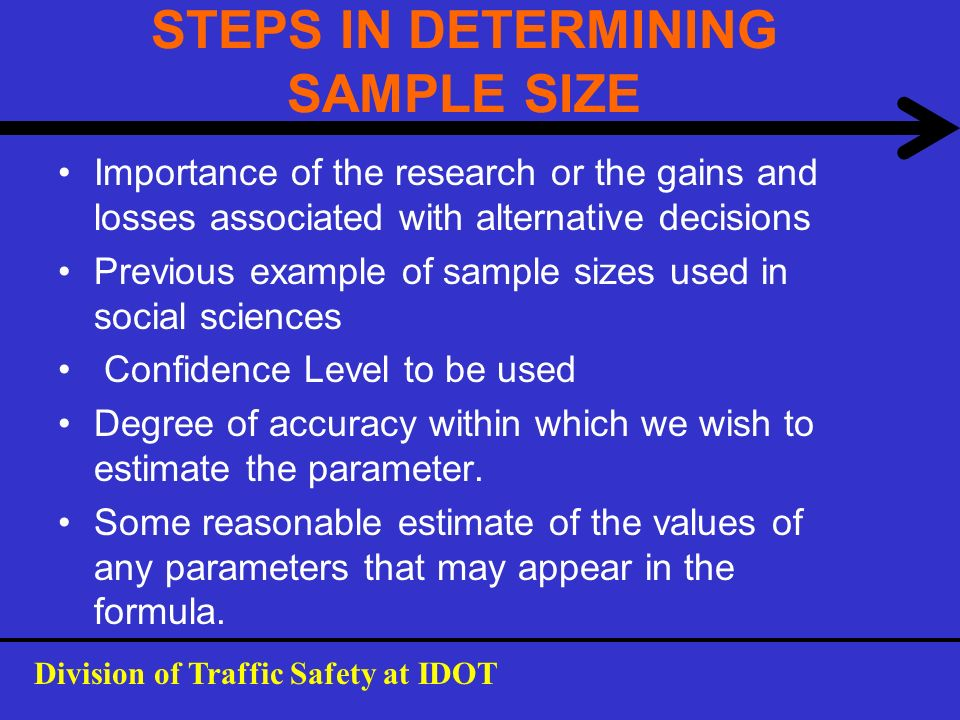 STEPS IN DETERMINING SAMPLE SIZE