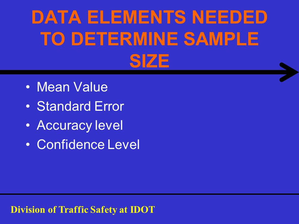 DATA ELEMENTS NEEDED TO DETERMINE SAMPLE SIZE