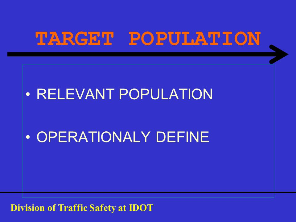 TARGET POPULATION RELEVANT POPULATION OPERATIONALY DEFINE