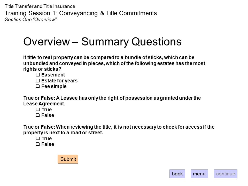 Overview – Summary Questions