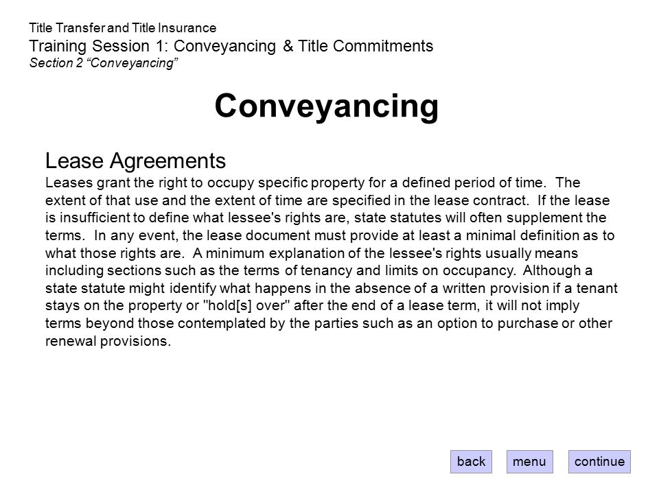 Conveyancing Lease Agreements