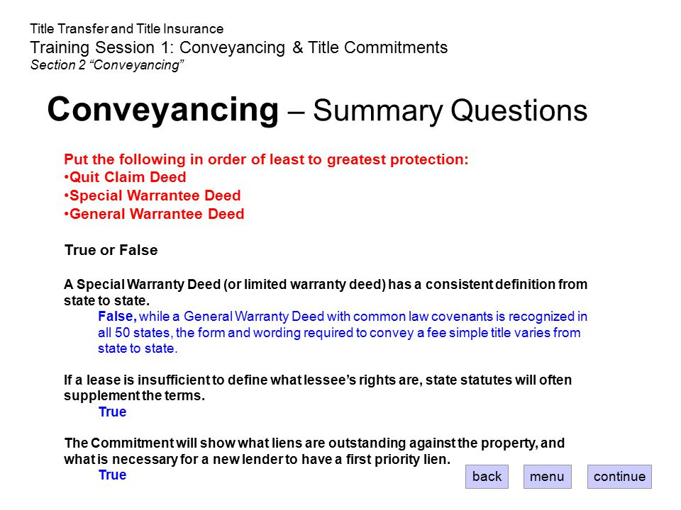 Conveyancing – Summary Questions