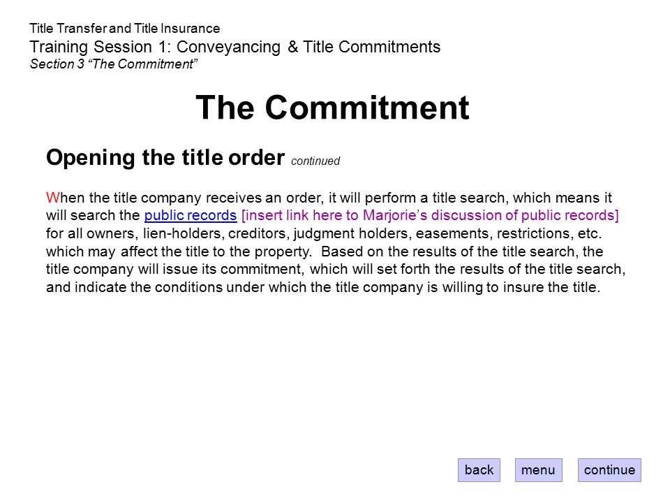 The Commitment Opening the title order continued