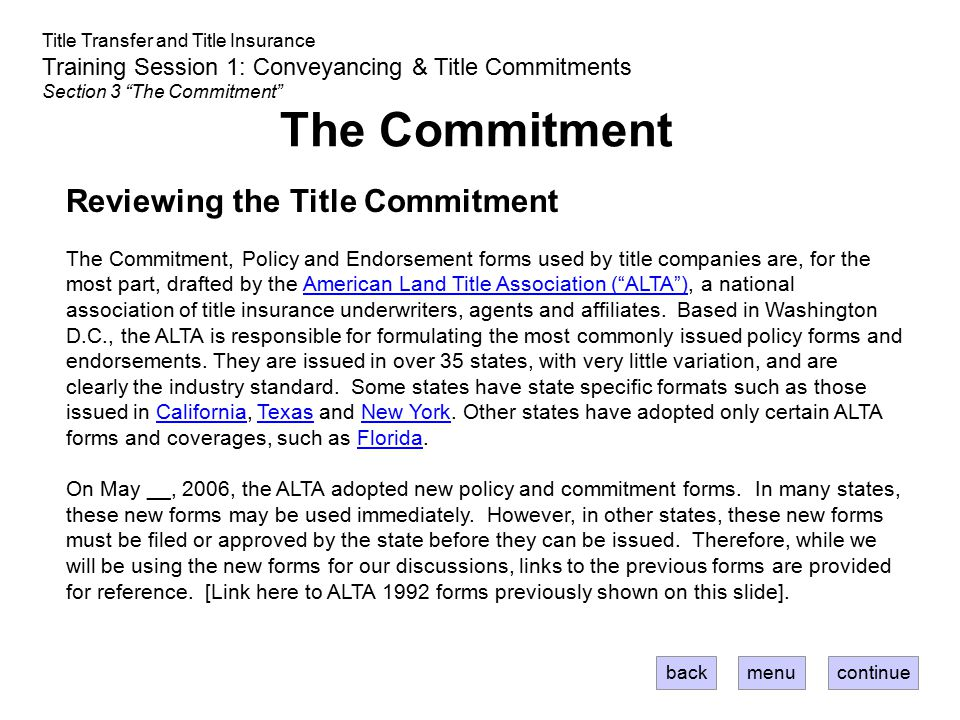The Commitment Reviewing the Title Commitment