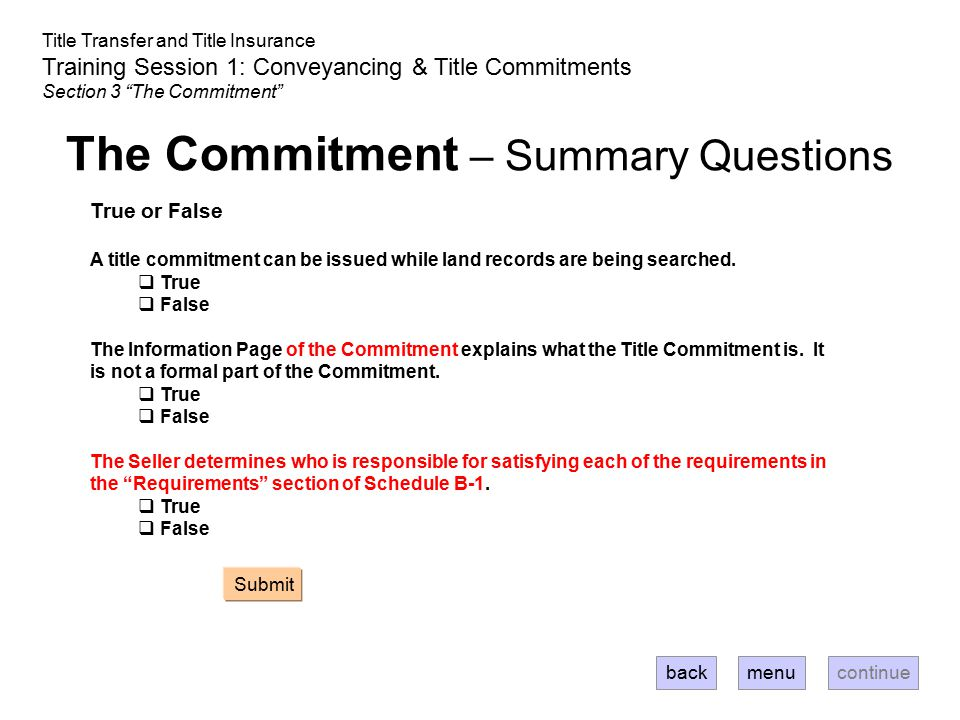 The Commitment – Summary Questions