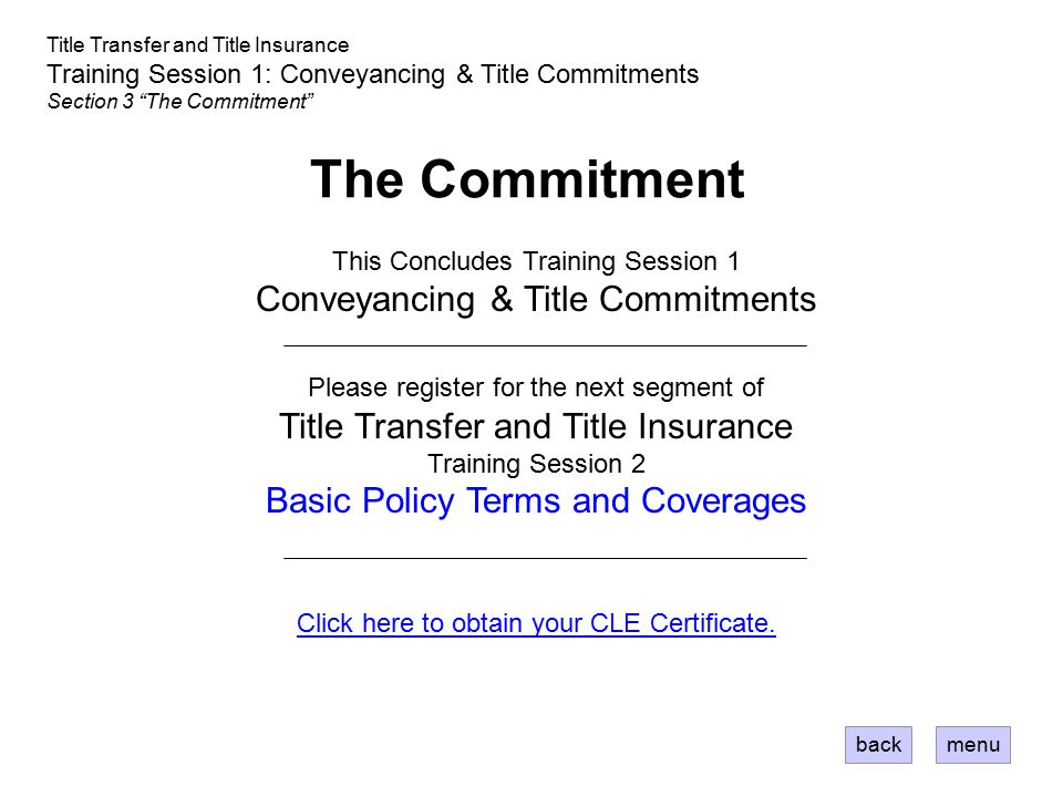 The Commitment Conveyancing & Title Commitments