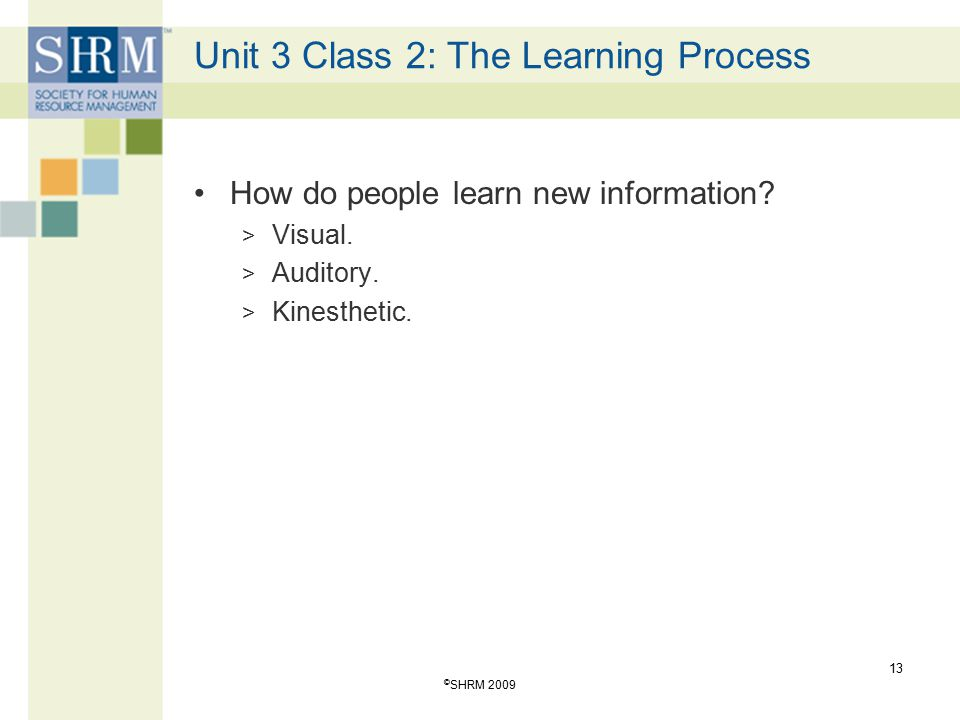 Unit 3 Class 2: The Learning Process