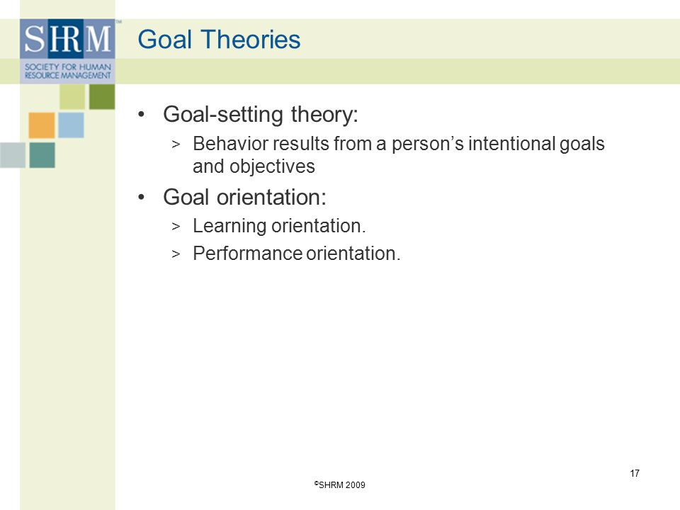 Goal Theories Goal-setting theory: Goal orientation: