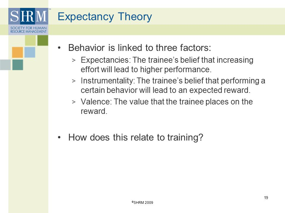 Expectancy Theory Behavior is linked to three factors: