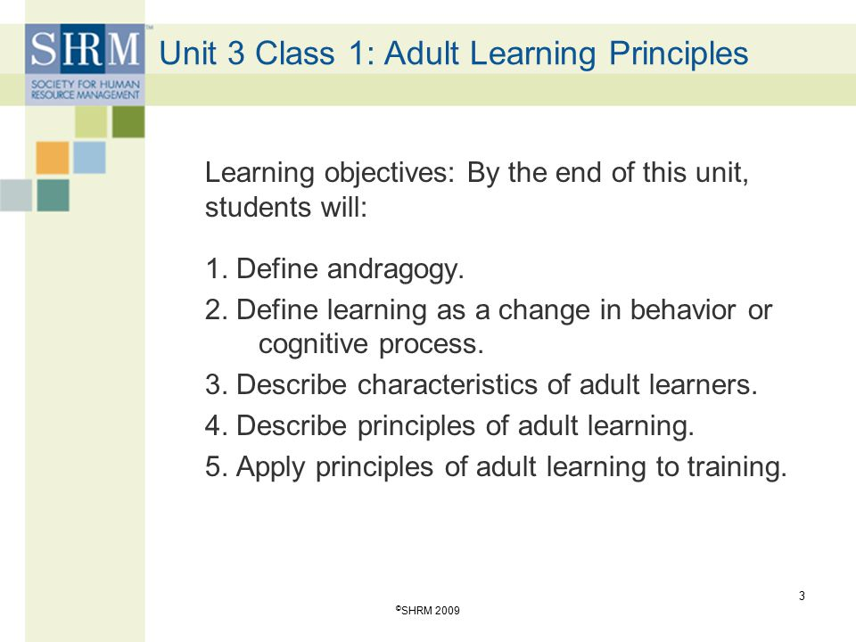 Unit 3 Class 1: Adult Learning Principles