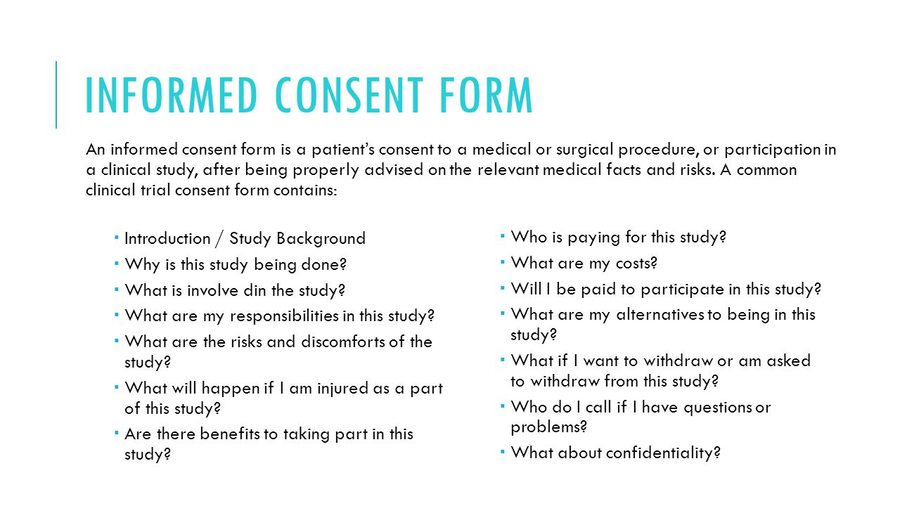 the risk and advantages of an informed consent document Informed consent information sheet more than minimal risk, the informed consent process must describe any trial subject in informed consent documents and.