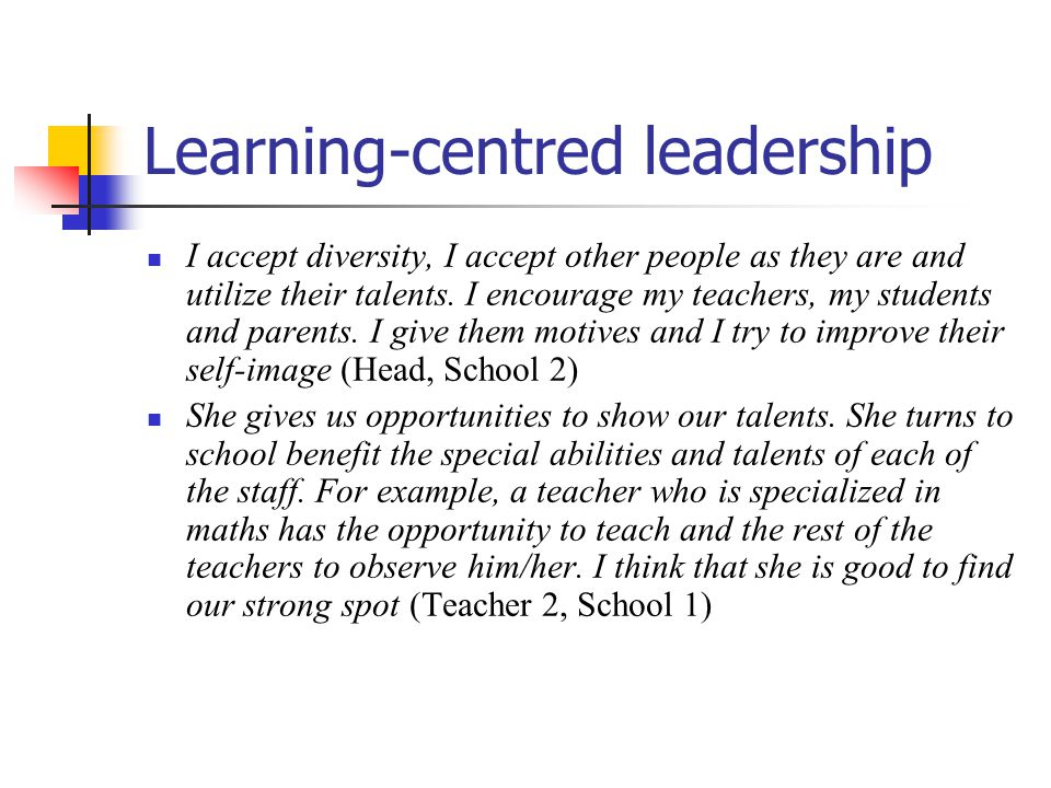 Learning-centred leadership