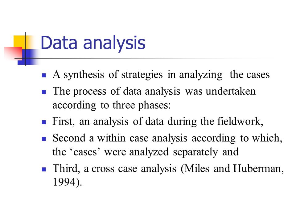 Data analysis A synthesis of strategies in analyzing the cases