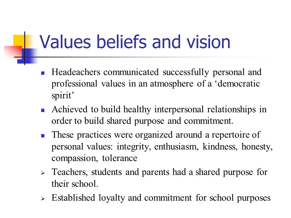 Values beliefs and vision