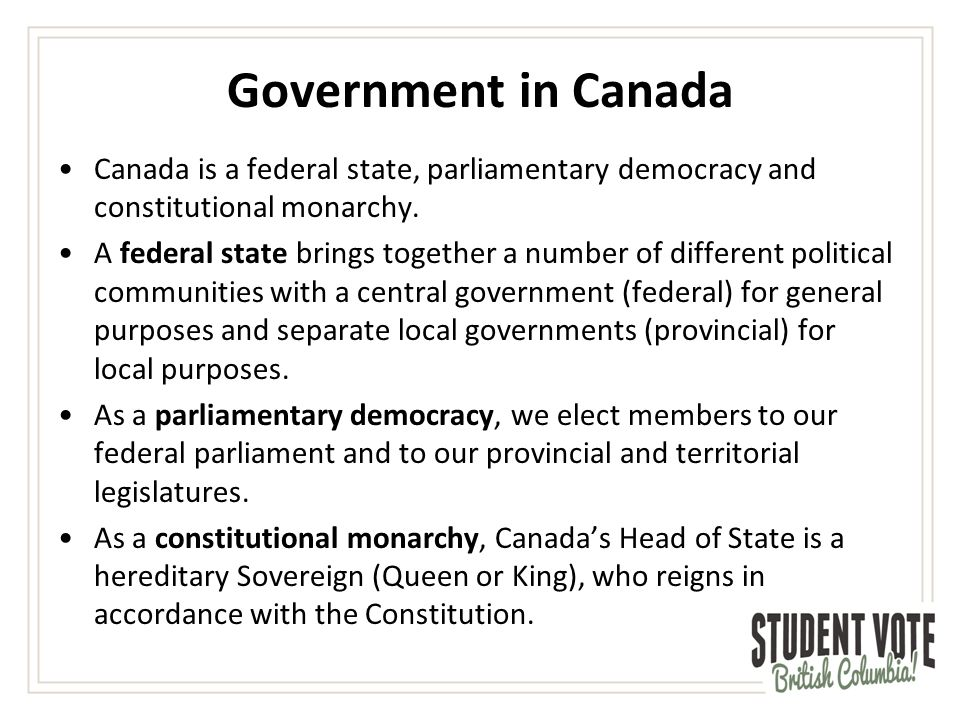 Lesson 3: Government in Canada - ppt video online download