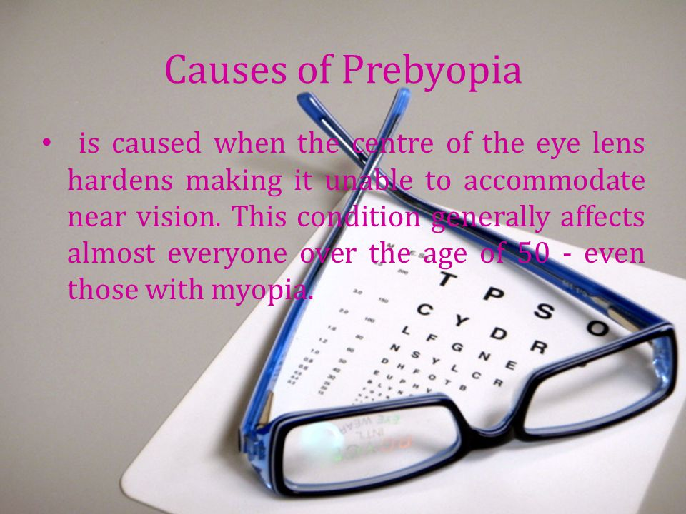 Causes of Prebyopia