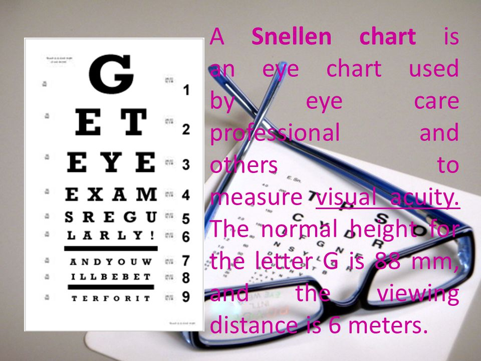 A Snellen chart is an eye chart used by eye care professional and others to measure visual acuity.