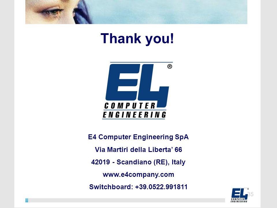 E4 Computer Engineering SpA Via Martiri della Liberta' 66