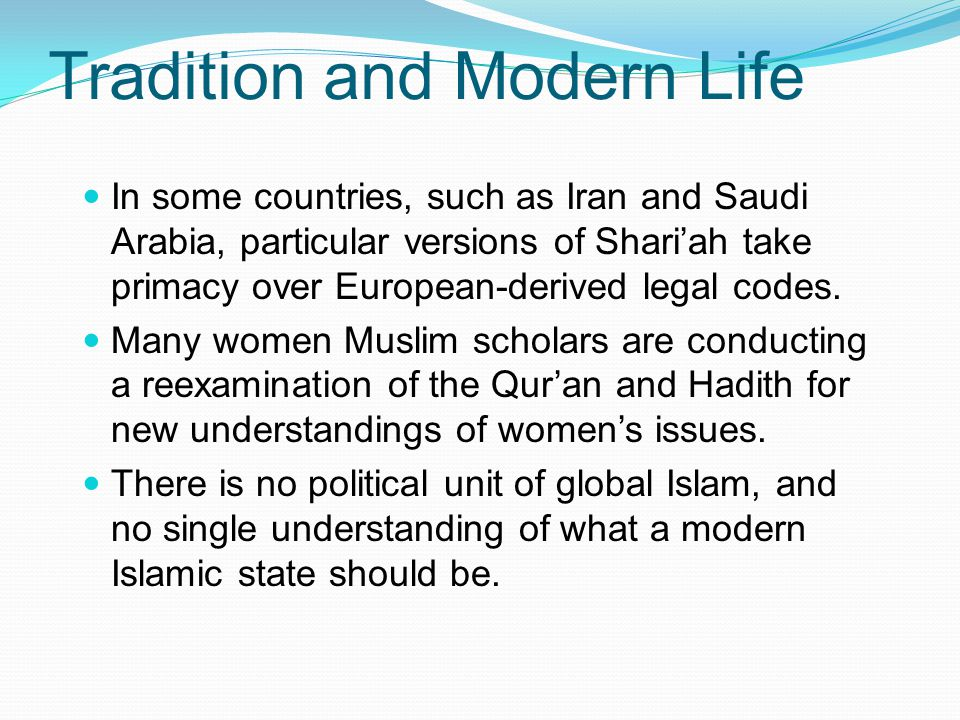 women and pre modern islamic law essay Women in islamic societies: a selected review of social pre -capitalist system rights between women and men however, islamic family law as variously.