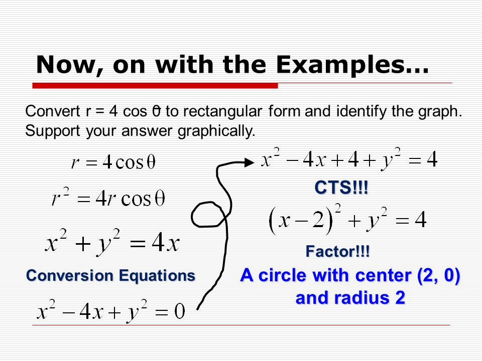 Converting Equations from Polar Form to Rectangular Form - ppt ...