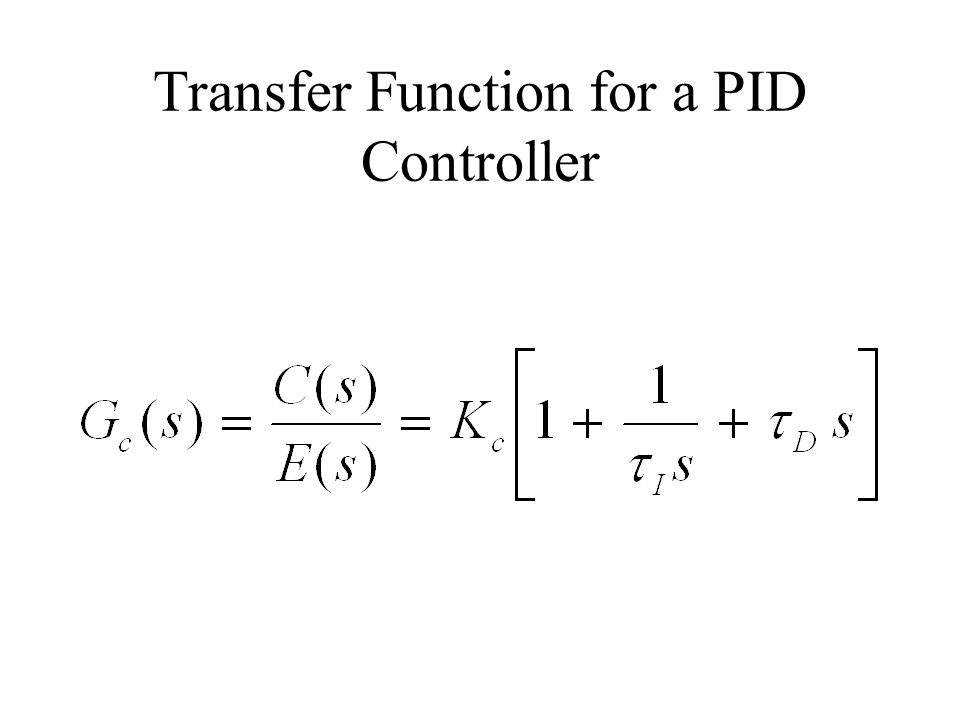 Transfer Function for a PID Controller
