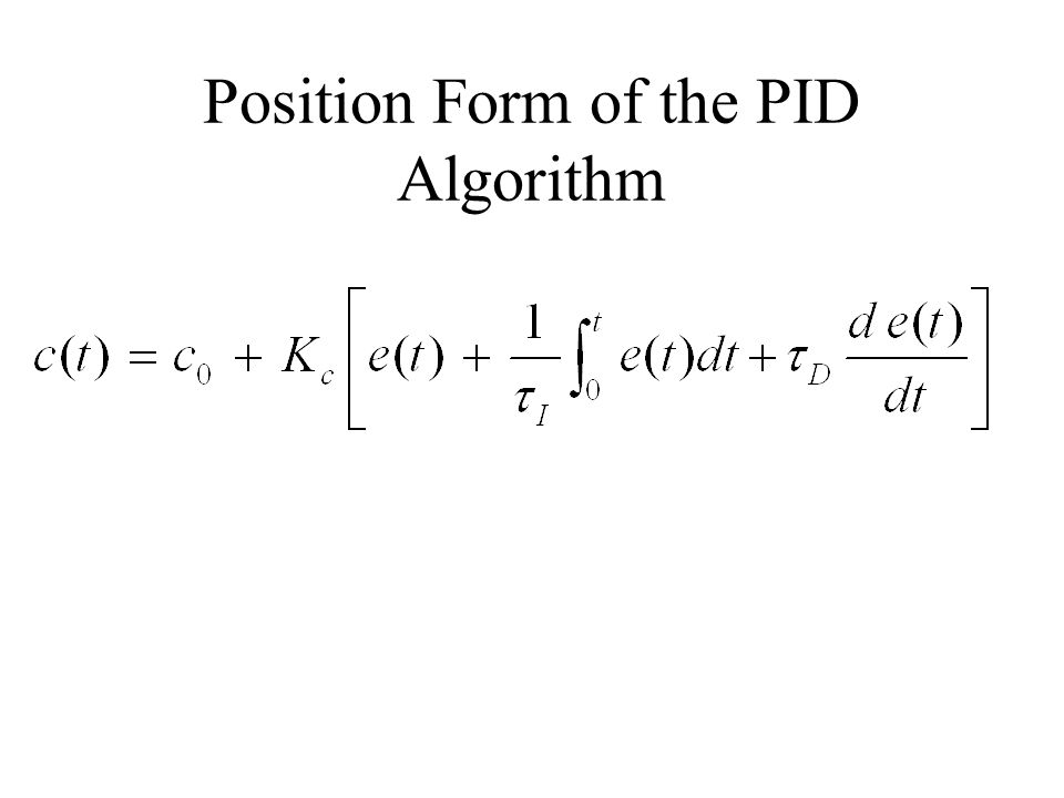 Position Form of the PID Algorithm