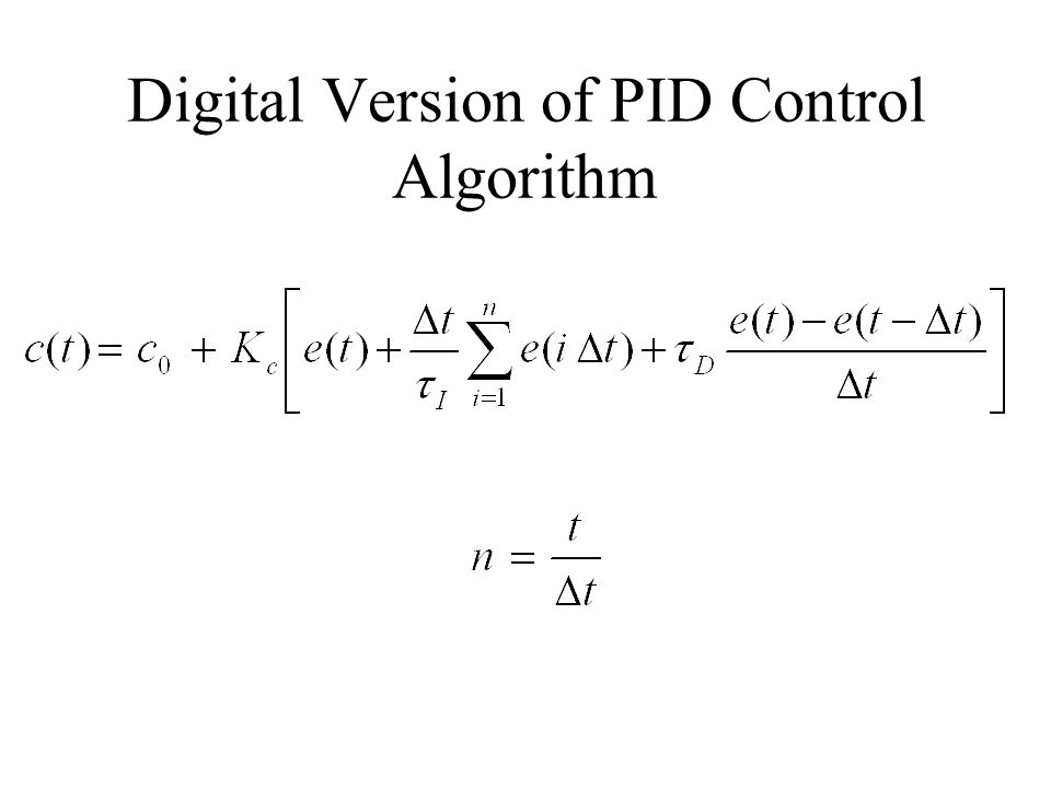Digital Version of PID Control Algorithm