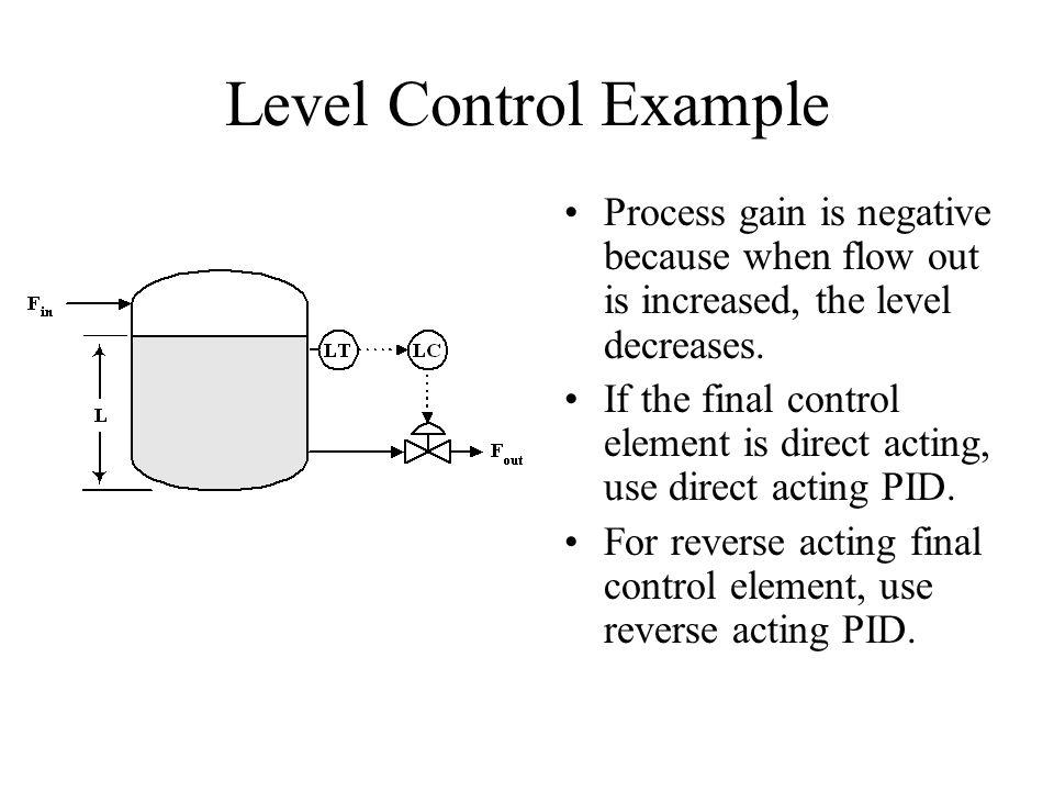 Level Control Example Process gain is negative because when flow out is increased, the level decreases.
